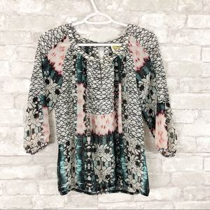 Anthropologie Fig & Flower Floral Print Blouse